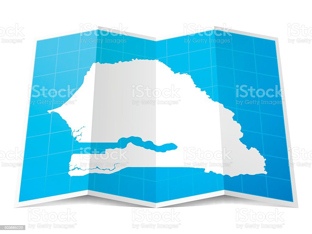 Senegal Map folded, isolated on white Background vector art illustration