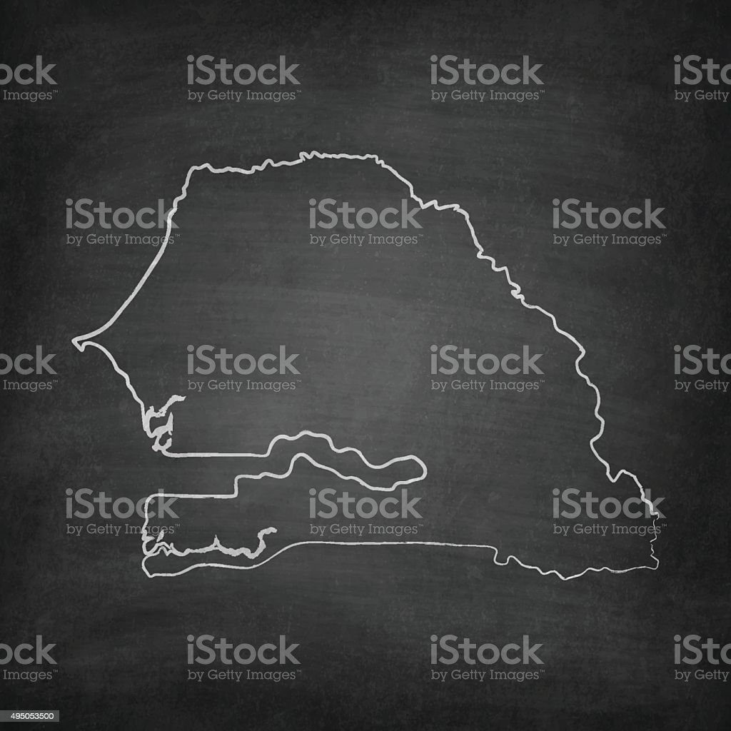 Senegal Map on Blackboard - Chalkboard vector art illustration