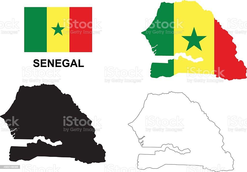 Senegal map vector, Senegal flag vector, isolated Senegal vector art illustration