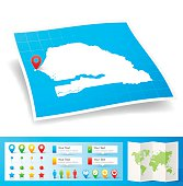 Senegal Map with location pins isolated on white Background