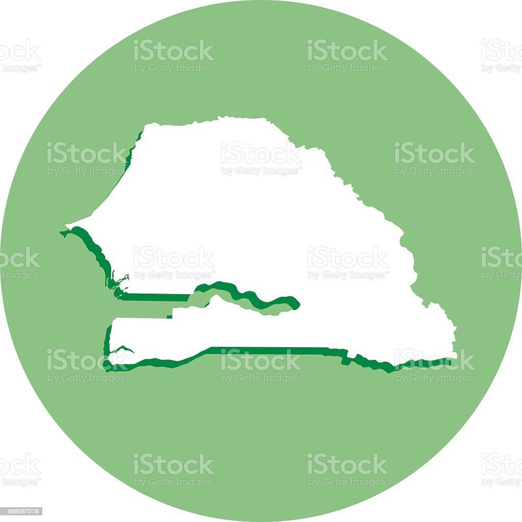 Senegal Round Map Icon vector art illustration