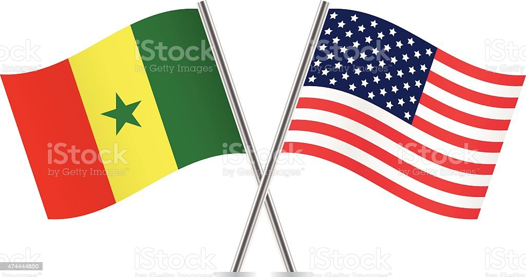 Senegalese and American flags. Vector. vector art illustration