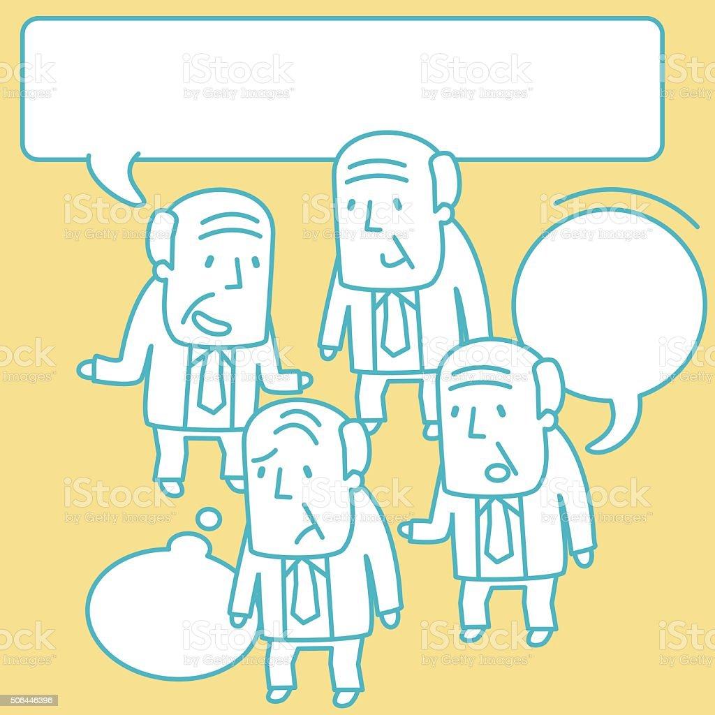 Senior Adult Businessman (Grandfather, Professor) Doodle Emotion, Talking, Smiling, Angry vector art illustration