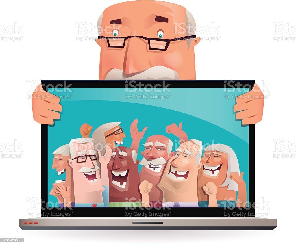 senior adult gathering via internet... vector art illustration