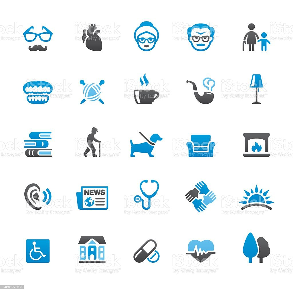 Senior Adult related vector icons vector art illustration