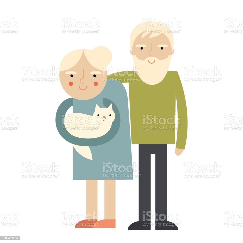 senior adults vector art illustration