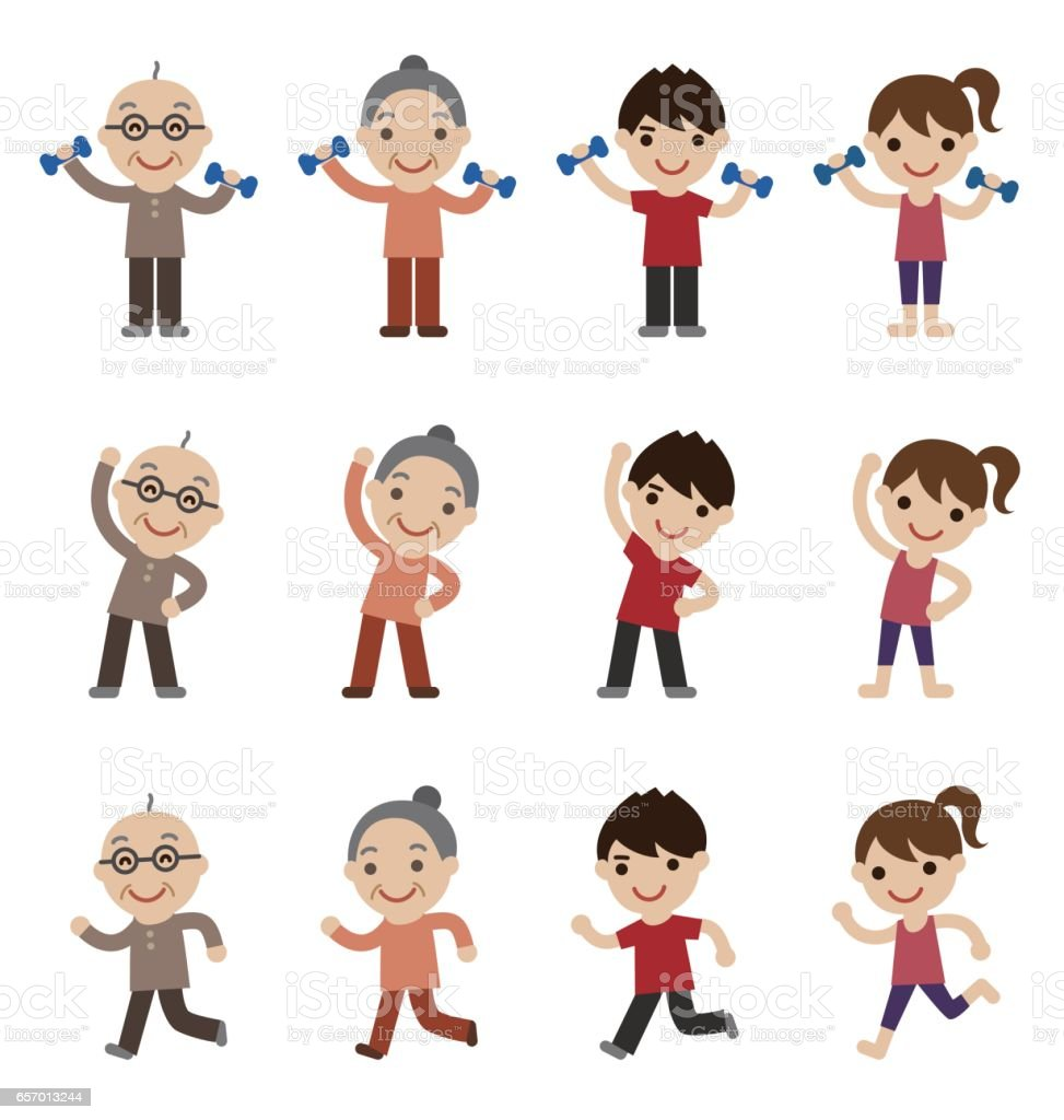 Senior and young couple exercising together vector art illustration