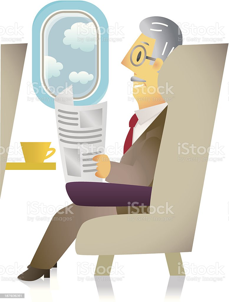 senior businessman on airplane royalty-free stock vector art