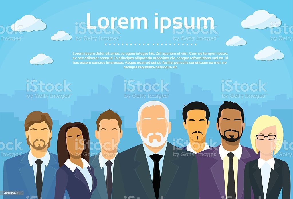 Senior Businessmen Boss with Group of Business People vector art illustration