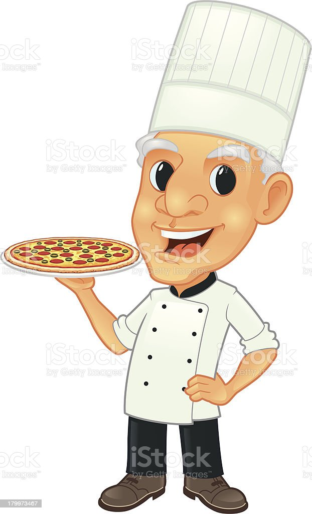 Senior Chef With Pizza royalty-free stock vector art