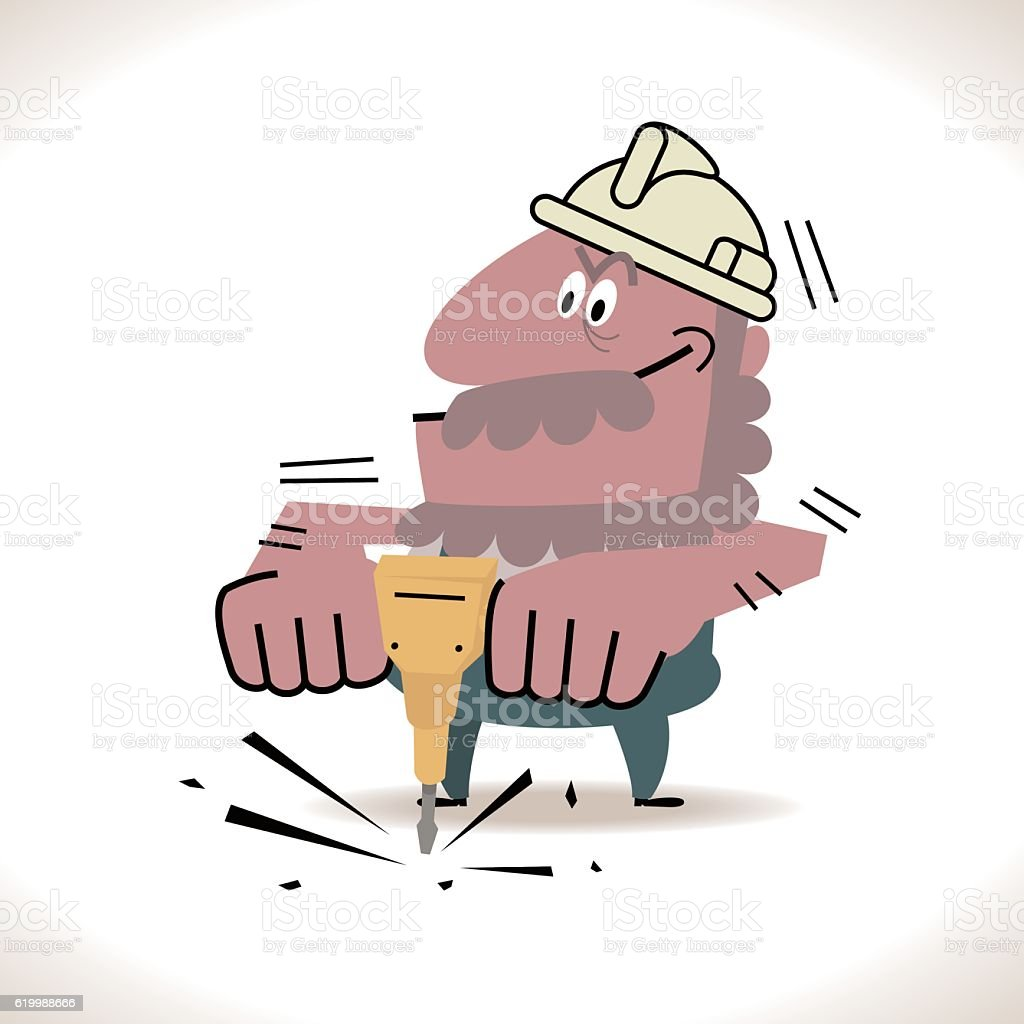 Senior Construction Worker using a jackhammer vector art illustration