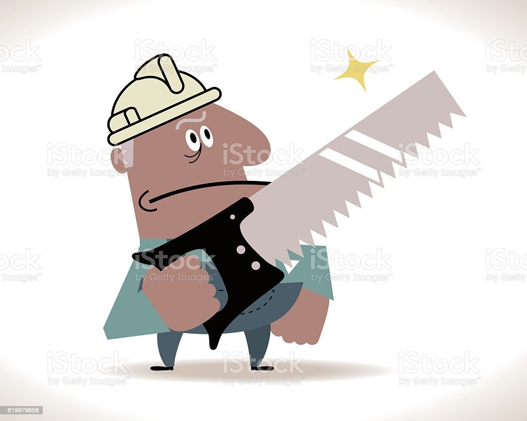 Senior Construction Worker with a big saw vector art illustration