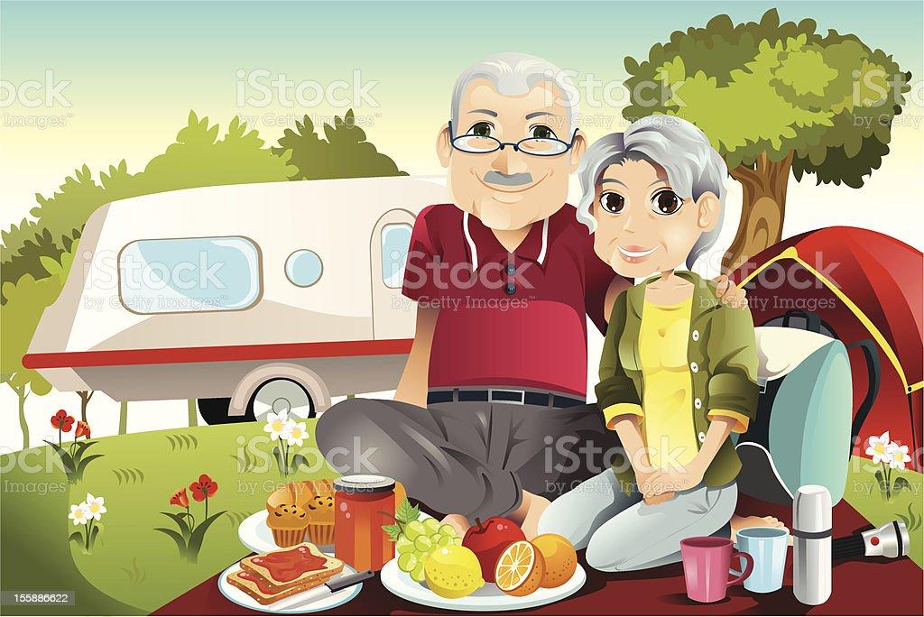 Senior couple camping royalty-free stock vector art