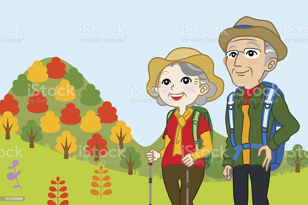 Senior couple Climb a mountain in fall, Waist Up royalty-free stock vector art