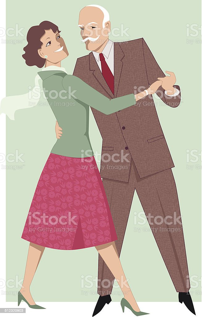 Senior couple dancing waltz vector art illustration
