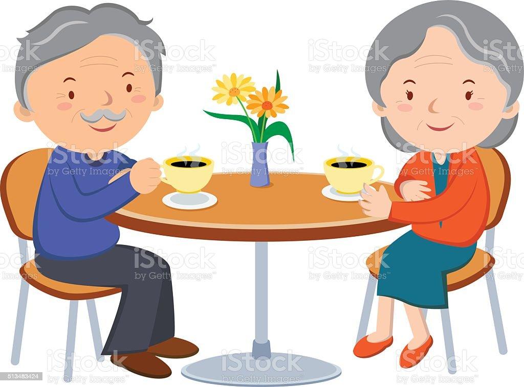 Senior couple dating vector art illustration