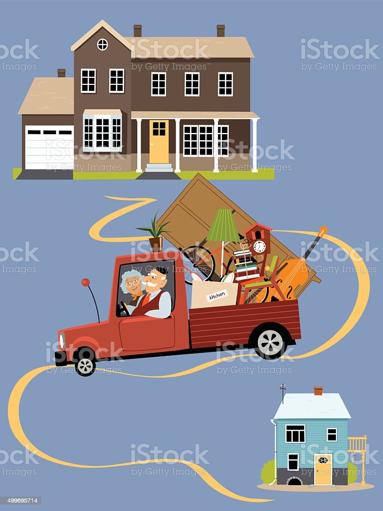 Senior couple downsizing vector art illustration
