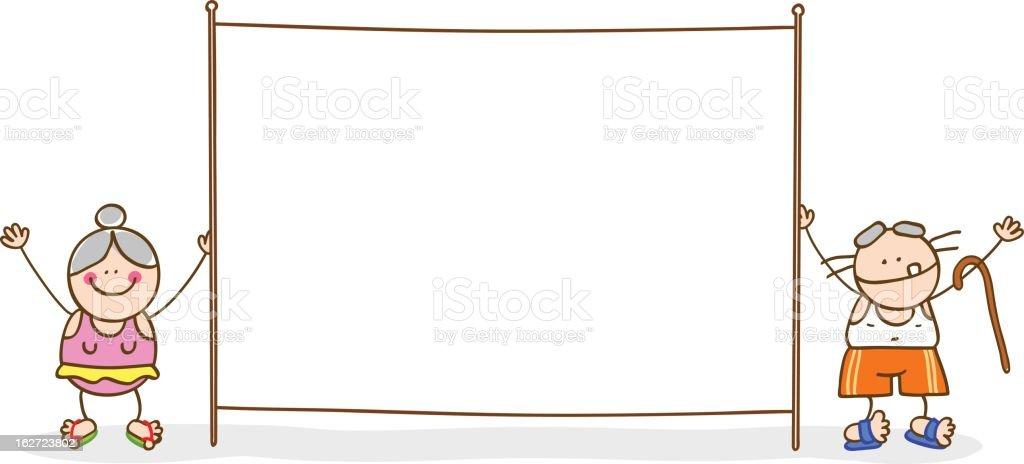 senior couple holding a blank banner vector cartoon illustration royalty-free stock vector art
