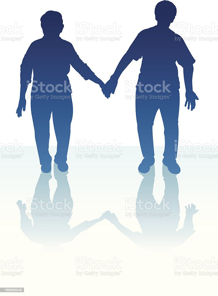 Senior Couple Holding Hands - Elderly Heterosexual royalty-free stock vector art