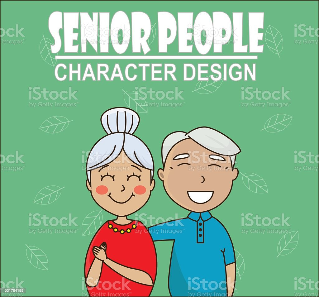 senior couple hugging and smiling vector art illustration
