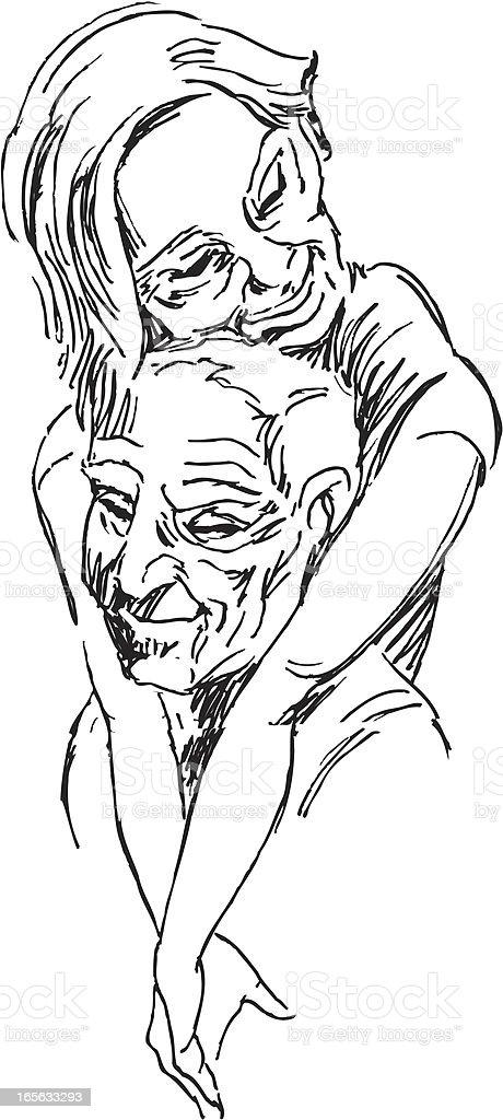 Senior Couple Hugging royalty-free stock vector art