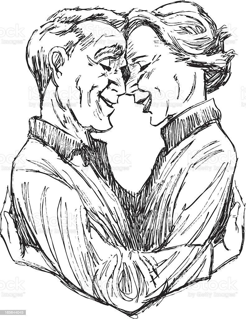 Senior Couple in Love royalty-free stock vector art