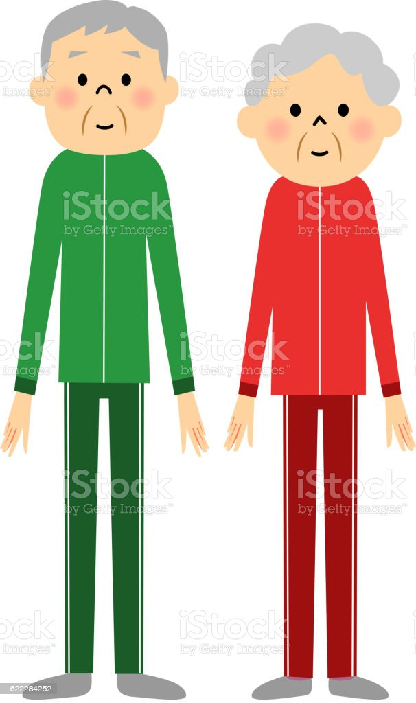Senior couple in sportswear figure vector art illustration