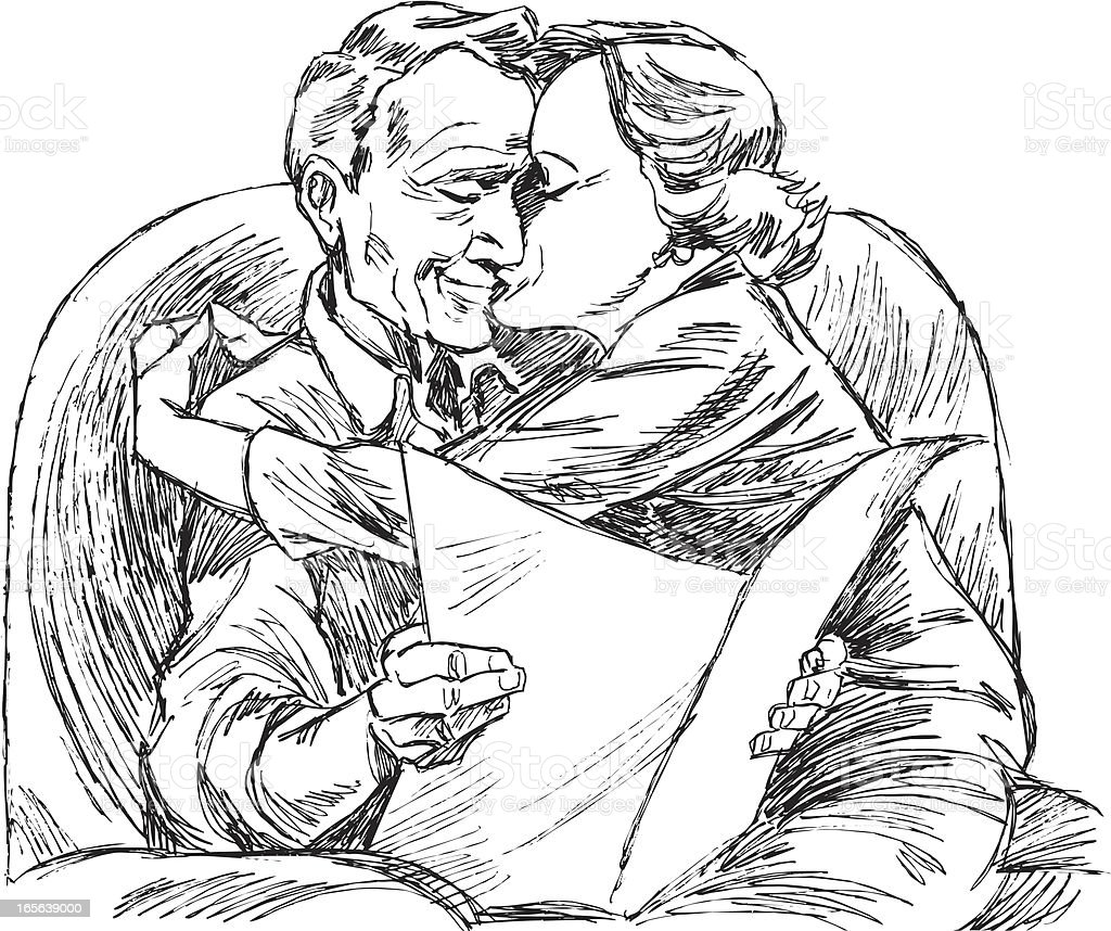 Senior Couple Kissing royalty-free stock vector art