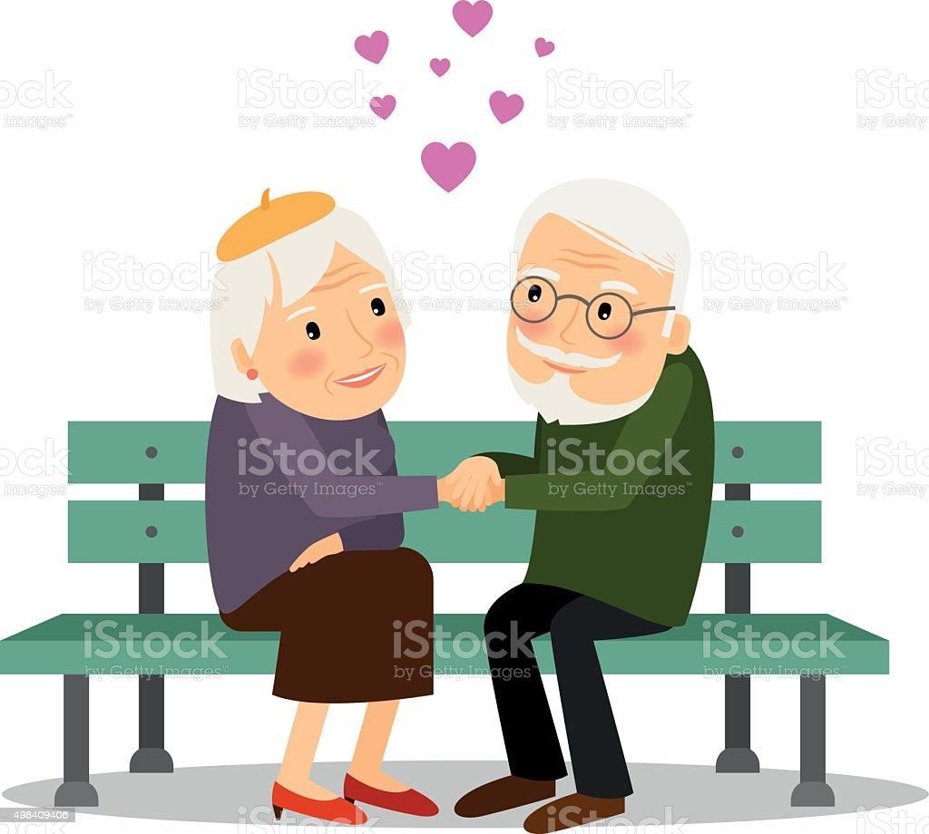 Senior Couple Love vector art illustration