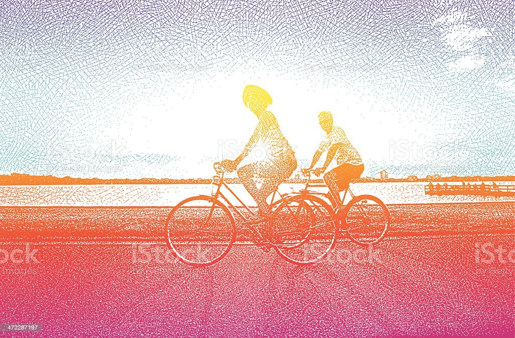 Senior Couple On Bicycles vector art illustration