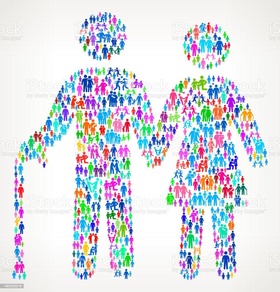 Senior Couple on vector family pattern Background vector art illustration