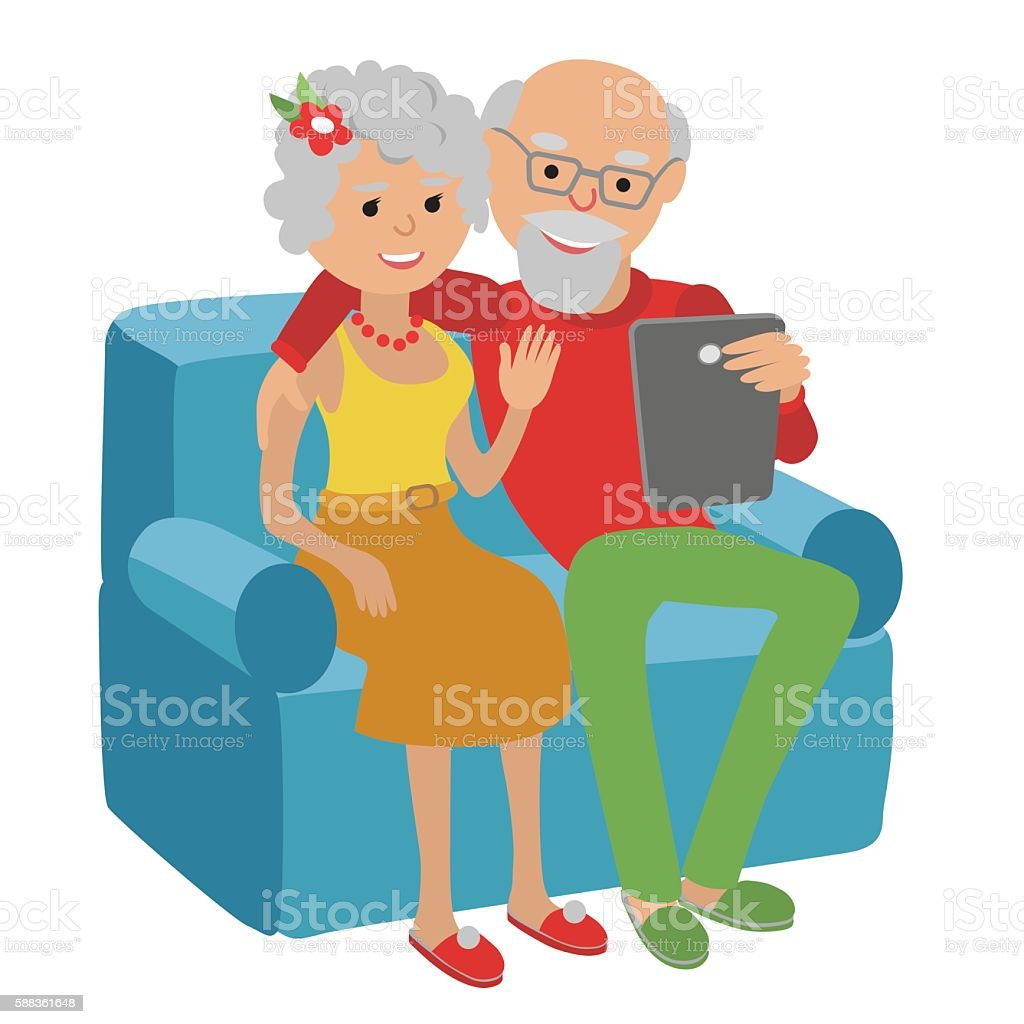Senior couple sitting on the sofa read with tablet. vector art illustration