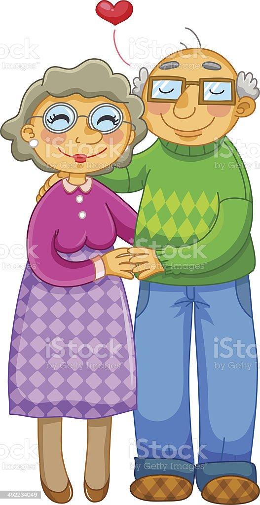 senior couple vector art illustration