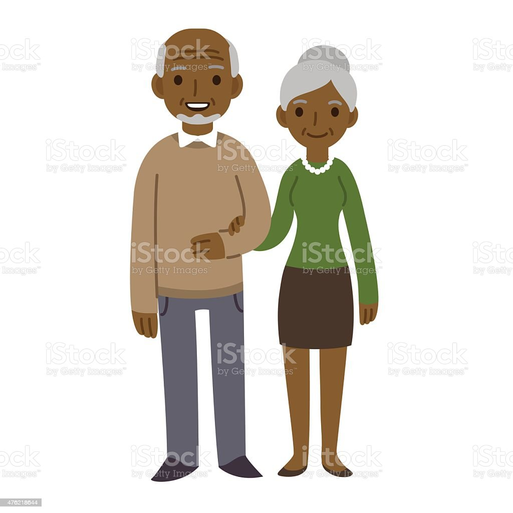 Senior couple vector art illustration