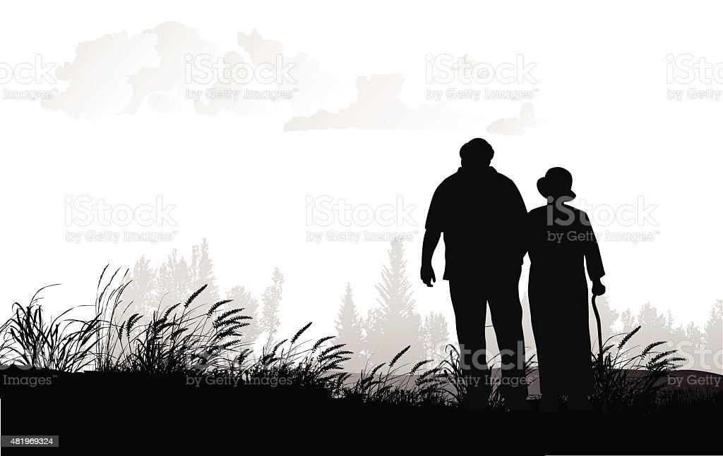 Senior Couple Walking In A Field vector art illustration