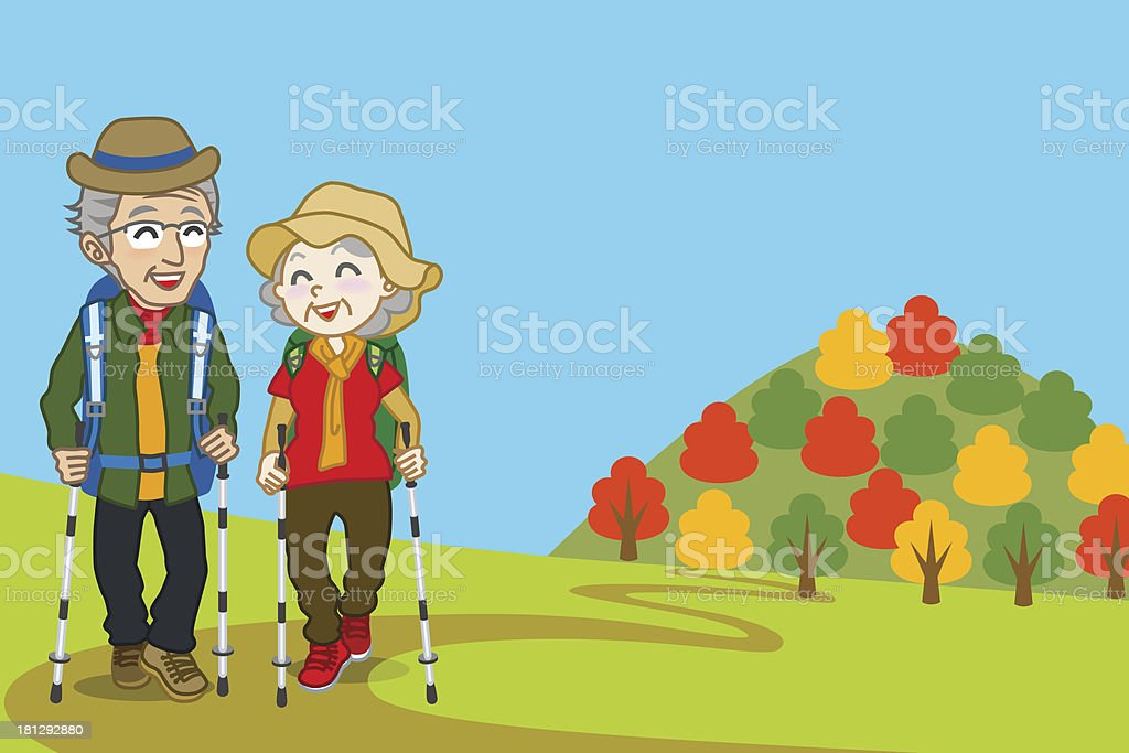 Senior couple walking  Mountain road, in fall royalty-free stock vector art