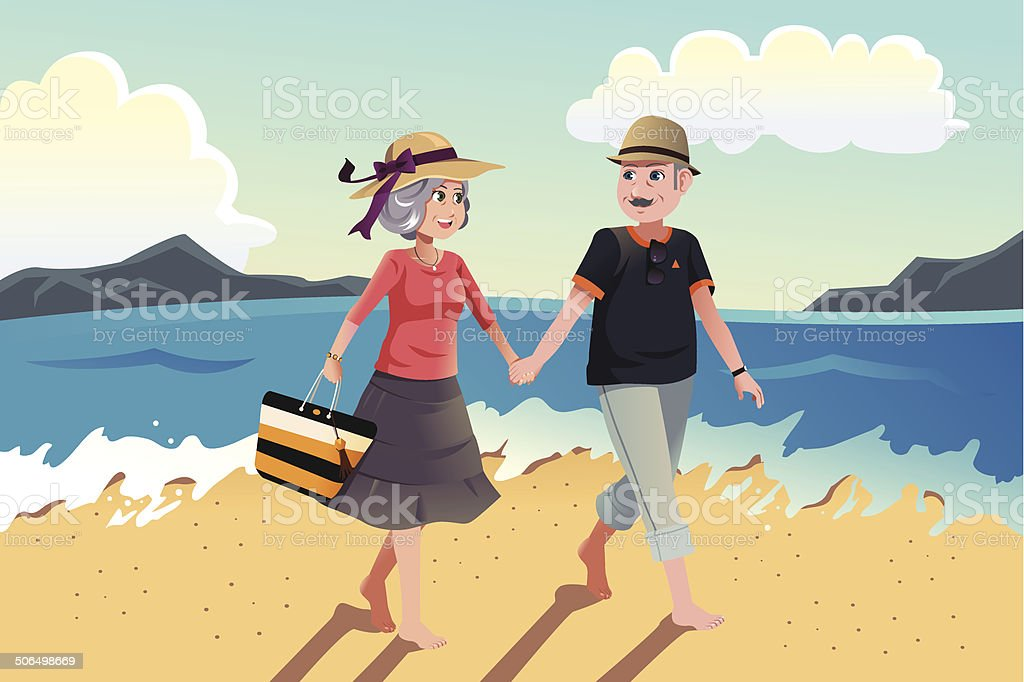 Senior couple walking on the beach vector art illustration