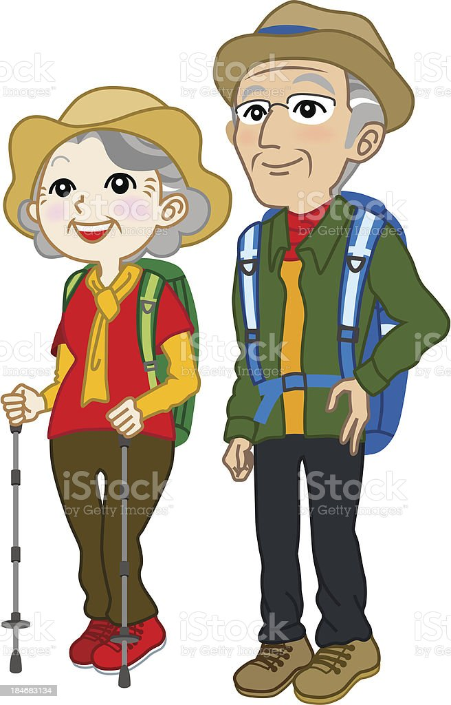 Senior couple wearing Climbing clothes,look up royalty-free stock vector art