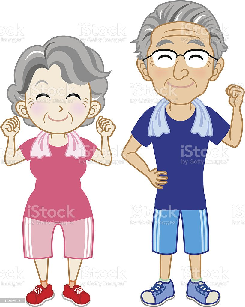 Senior couple Wearing Short sleeves Sportswear royalty-free stock vector art