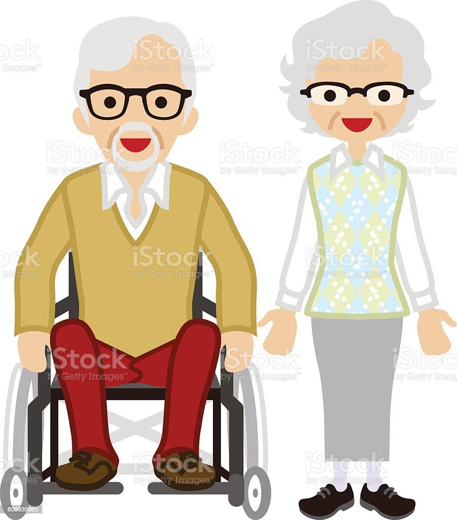 Senior couple - Wheelchair Husband vector art illustration
