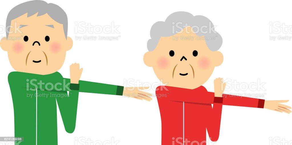 Senior couple who prepares to prepare vector art illustration