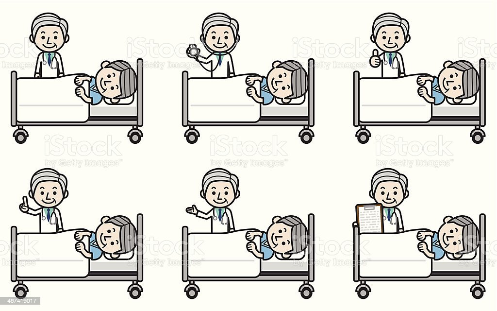 Senior doctor examining elderly patient royalty-free stock vector art
