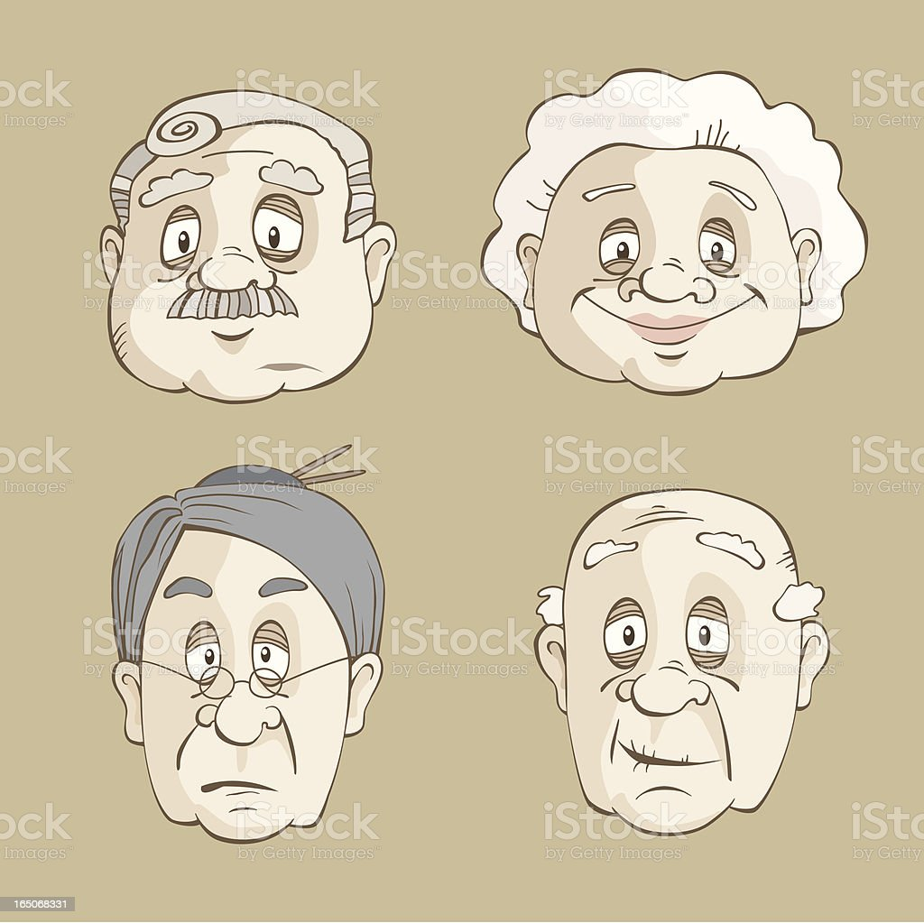Senior Faces royalty-free stock vector art