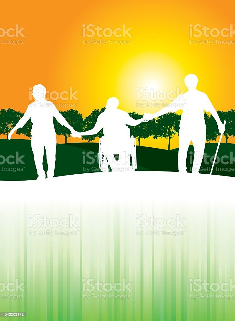 Senior Friends Background vector art illustration