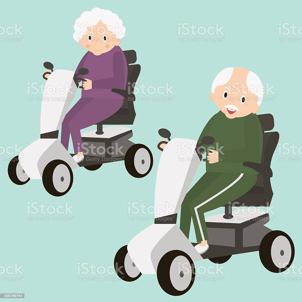 Elderly Transportation: Senior Lady And Man On A Mobility Scooter Elderly