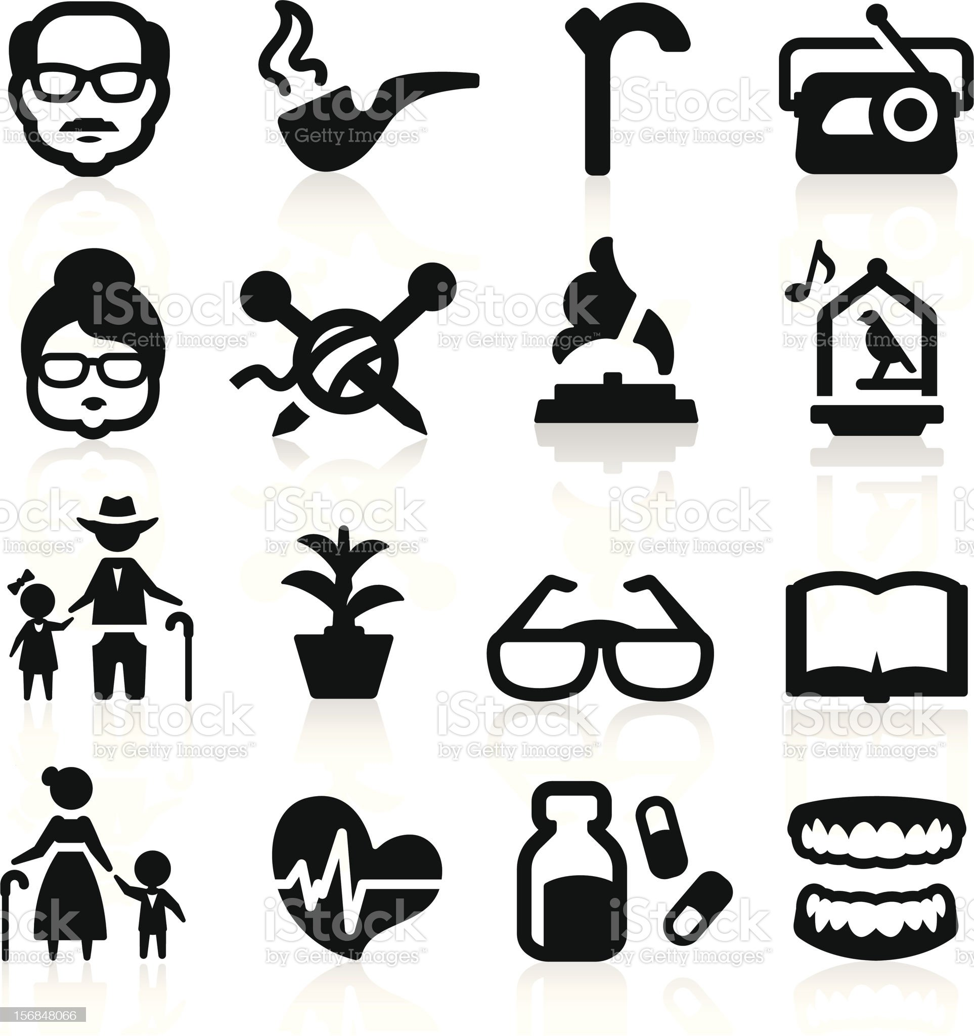 Senior lifestyle icons set - Elegant series royalty-free stock vector art