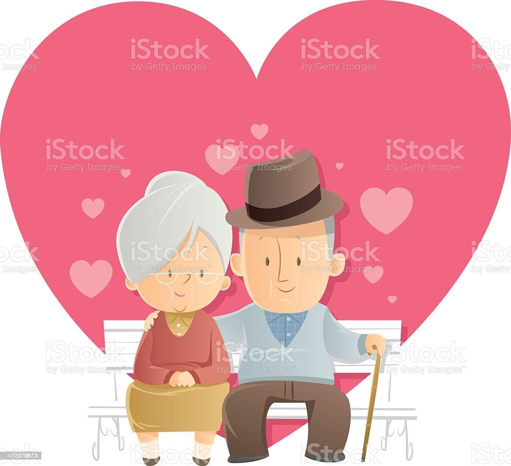 Senior Love vector art illustration