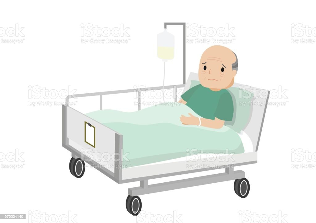 Senior male patient resting in hospital. vector art illustration