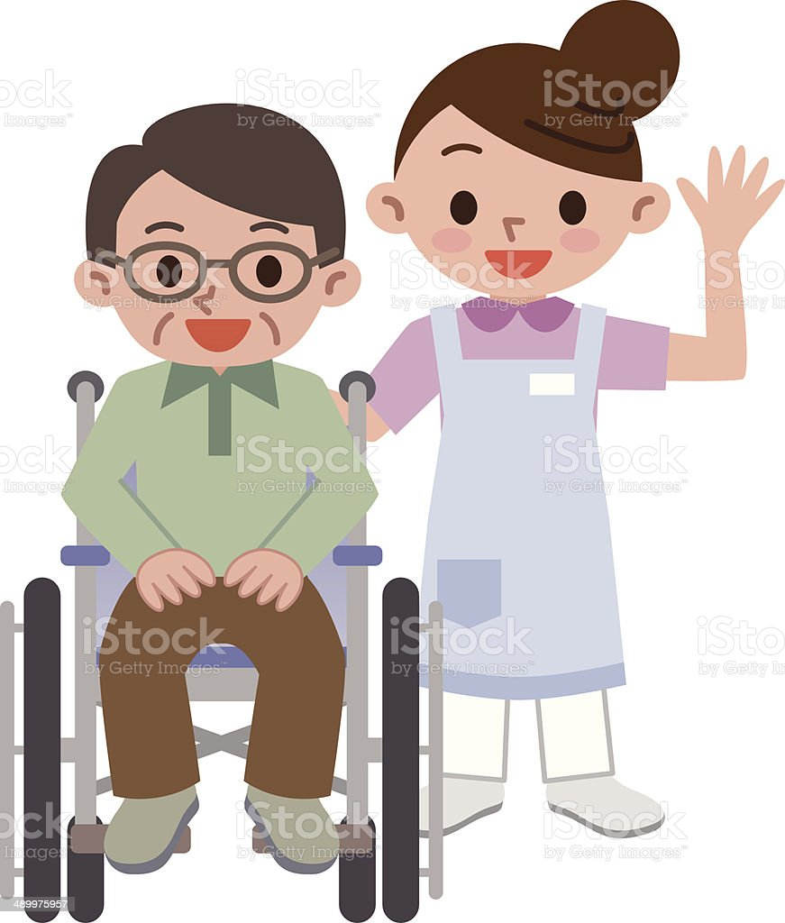 Senior man in a wheelchair with a young caregiver vector art illustration