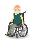 Senior man in wheelchair on a white background